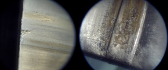 More borescope pictures comparing barrel fouling